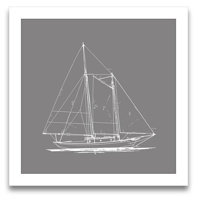 Sail Away Sailboat Blueprint I Wall Art