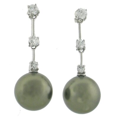 Pearl Drop Cubic Zirconia Drop Earrings