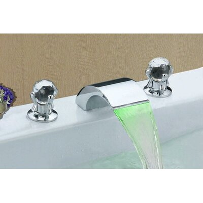 Sumerain Double Handle Widespread LED Waterfall Bathroom Sink Faucet ...