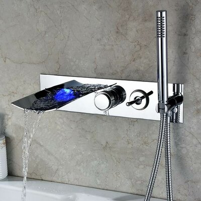 Sumerain double handle wall mount led waterfall tub faucet with handshower reviews wayfair - Led waterfall faucet ...