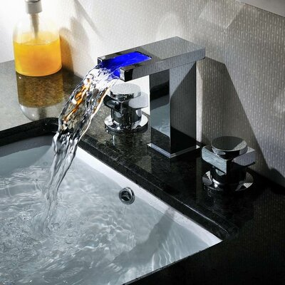 Sumerain International Group Double Handle Widespread LED Waterfall Bathroom Sink Faucet