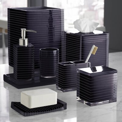 Mar-A-Lago Stripe Bath Accessory Collection in Plum