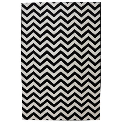 American Rug Craftsmen Panoramic Black Striped Herringbone Rug
