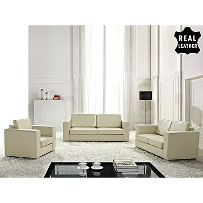 Beliani Helsinki European 3 Piece Leather Living Room Set