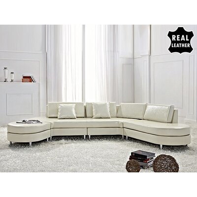 Beliani Copenhagen Leather Stationary Sectional