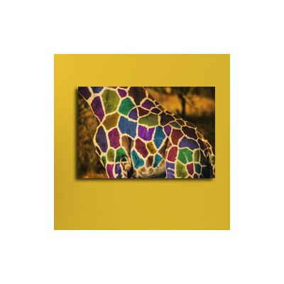 Maxwell Dickson Rainbow Giraffe Graphic Art on Canvas
