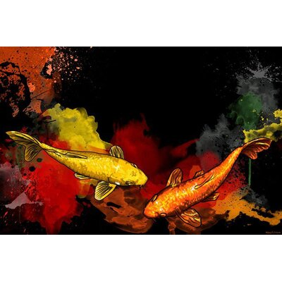 Koi painting print on canvas wayfair for Koi canvas print