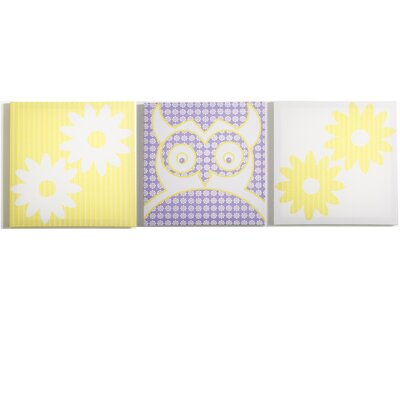 Modern Littles Sweets Pretty Owl Flowers Canvas Print (Set of 3)