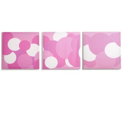 Modern Littles Rose Pink Bubbles Canvas Print (Set of 3)