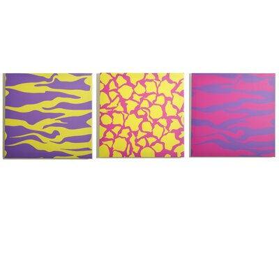Modern Littles Color Pop Animal Party Canvas Print (Set of 3)