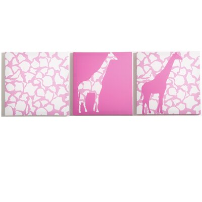 Modern Littles Rose Giraffe Walk Canvas Print (Set of 3)