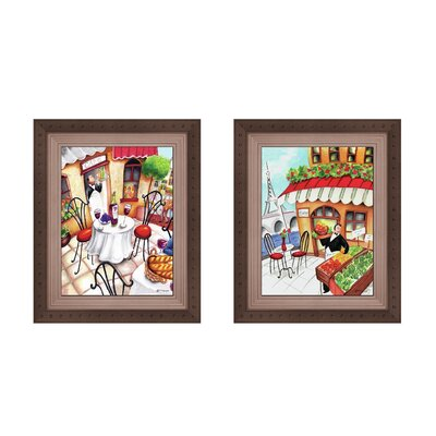 Cartoon Café Button 2 Piece Framed Graphic Art Set