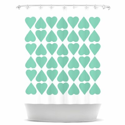 KESS InHouse Diamond Hearts Polyester Shower Curtain