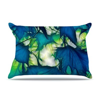 KESS InHouse Leaves Microfiber Fleece Pillow Case