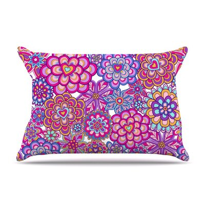 KESS InHouse My Happy Flowers Microfiber Fleece Pillow Case