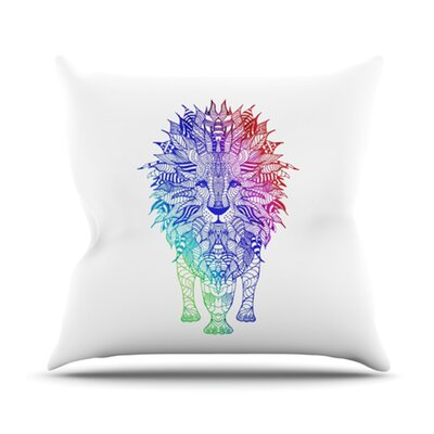 KESS InHouse Rainbow Lion Throw Pillow
