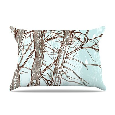 KESS InHouse Winter Trees Fleece Pillow Case