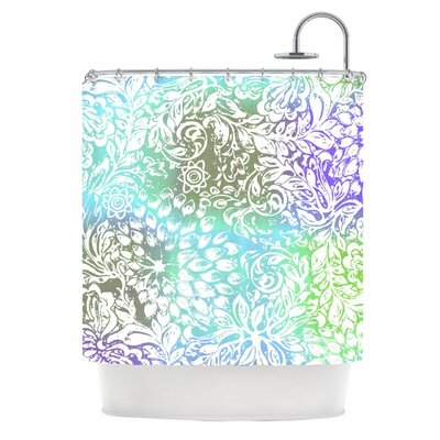 KESS InHouse Blue Bloom Softly for You Polyester Shower Curtain