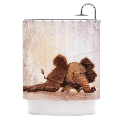 KESS InHouse The Elephant with the Long Ears Polyester Shower Curtain