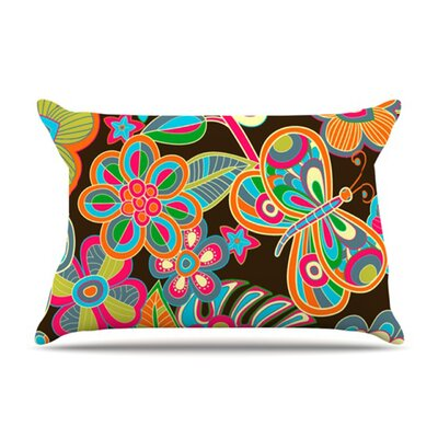 KESS InHouse My Butterflies and Flowers Microfiber Fleece Pillow Case