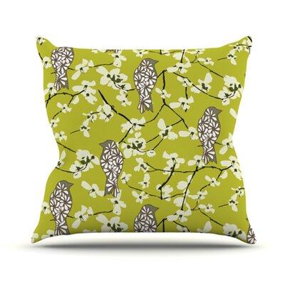 KESS InHouse Blossom Bird Throw Pillow