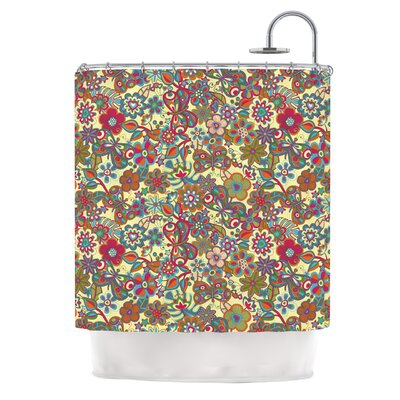 KESS InHouse My Butterflies and Flowers Polyester Shower Curtain