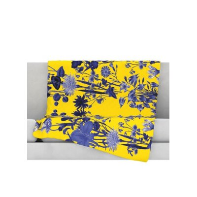 KESS InHouse Bloom Flower Microfiber Fleece Throw Blanket