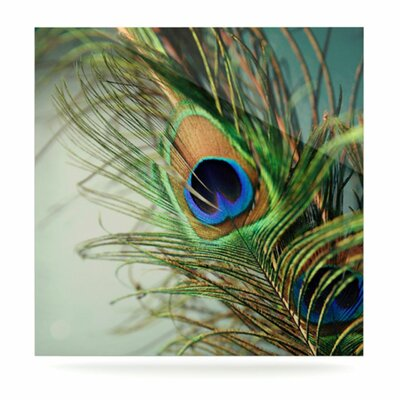 KESS InHouse Peacock Feather Floating Art Panel