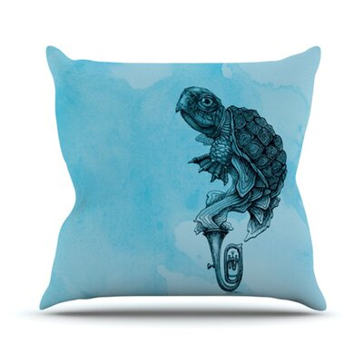 KESS InHouse Turtle Tuba III Throw Pillow