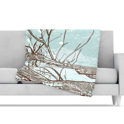 KESS InHouse Winter Trees Fleece Throw Blanket