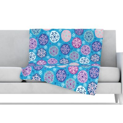 KESS InHouse Floral Winter Microfiber Fleece Throw Blanket