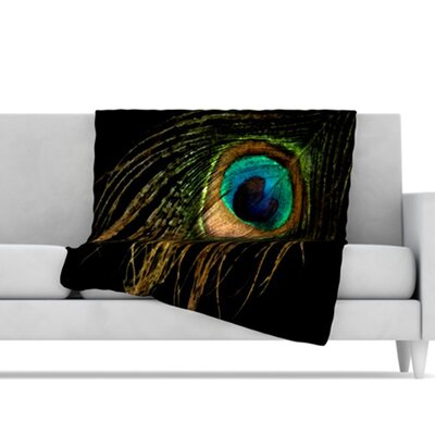 KESS InHouse Peacock Microfiber Fleece Throw Blanket