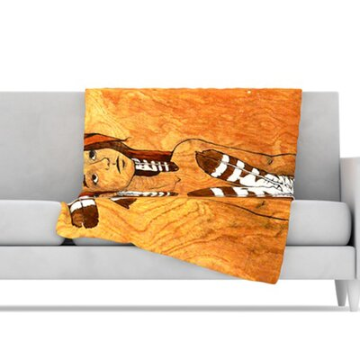 KESS InHouse Owl Feather Dress Microfiber Fleece Throw Blanket