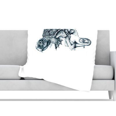 KESS InHouse Turtle Tuba Microfiber Fleece Throw Blanket