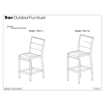Trex Outdoor Trex Outdoor Surf City Bar Height Chair