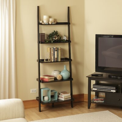 Convenience Concepts American Heritage Ladder Bookshelf in Black Wood Grain