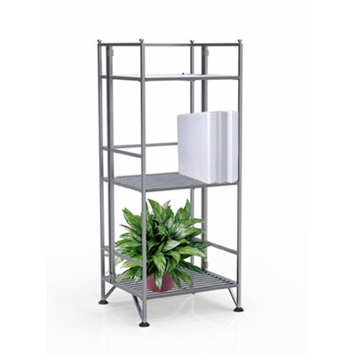Convenience Concepts XTRA Storage 3 Tier Folding Shelf in Silver