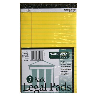 Norcom Inc 50 Sheets Legal Pads 5 Count