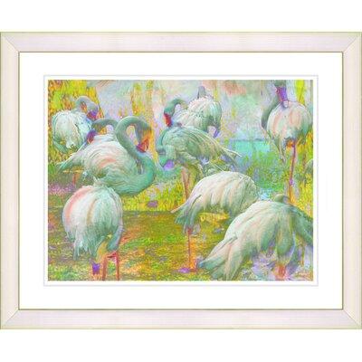 "Studio Works Modern ""White Flocking Flamingos"" by Zhee Singer Framed Painting Print"