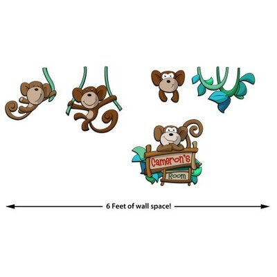 Custom Named Boy Hanging Monkey 5 Piece 3D Cartoon Wall Art Scene