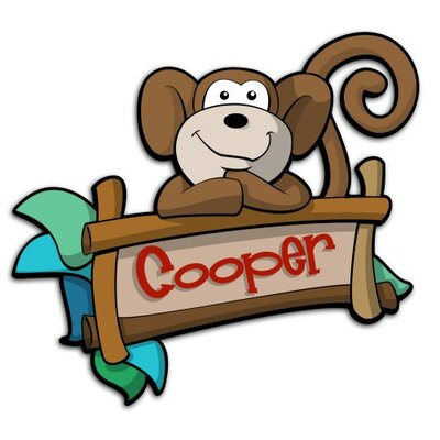Custom Named Boy Monkey Door Sign 3D Cartoon Wall Art