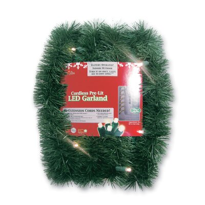 Brite Star Micro Mini 35 Light Lighted LED Pine Garland