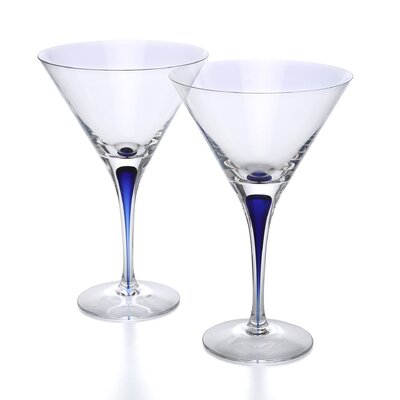 <strong>Orrefors</strong> Intermezzo Blue 7 oz. Martini Glass (Set of 2)