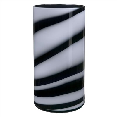 Kosta Boda Twist Low Black & White Vase