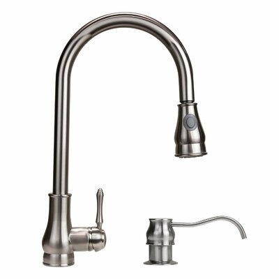 Dyconn Faucet Coral Single Handle Pull-Out Kitchen Faucet with Soap Dispenser