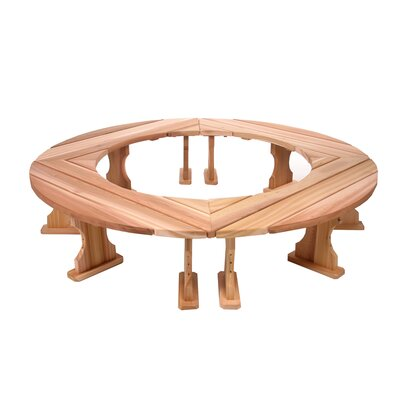 All Things Cedar Round Wood Tree Bench (Set of 4)
