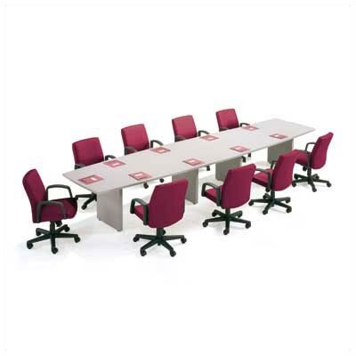 "ABCO 120"" Wide T-Mold Boat Shape Top Conference Table with Slab Base"