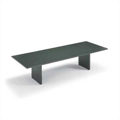 "ABCO 144"" Wide Self Edge Rectangle Top Conference Table with Slab Base"