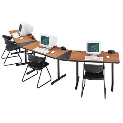"ABCO Smart Tables: 18"" x 48"" Rectangle Thermofused Melamine Conference Table With Fixed Bases and 30 Degree Corner Wedges"