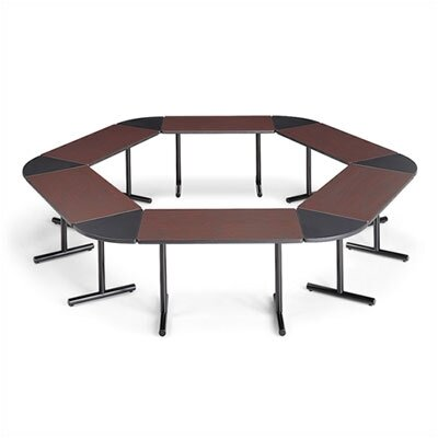 "ABCO Smart Tables: 18"" x 48"" Rectangle Thermofused Melamine Conference Table With Fixed Bases and 60 Degree Corner Wedges"